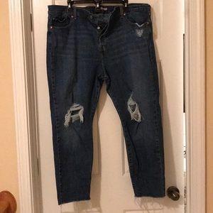 Levi distressed jeans with raw hem size 22W